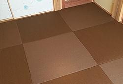 カラー樹脂素材のへりなし畳